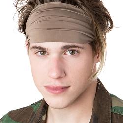 Hipsy Unisex Adjustable Spandex Xflex Basic Taupe Headband