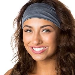 Hipsy Unisex Adjustable Spandex Xflex Crushed Dark Grey Headband