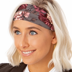 Hipsy Unisex Adjustable Spandex Xflex Soft Floral Dark Grey Headband