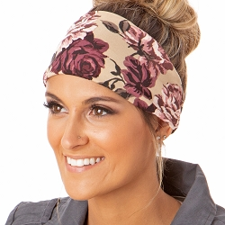 Hipsy Unisex Adjustable Spandex Xflex Soft Floral Tan Headband