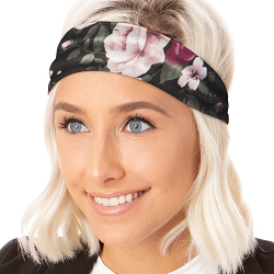 Hipsy Unisex Adjustable Spandex Xflex Soft Floral Black Headband