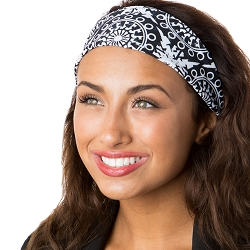 Hipsy Unisex Adjustable Spandex Xflex Printed Black Abstract Headband