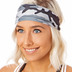 Hipsy Unisex Adjustable Spandex Xflex Printed Camo Grey Headband