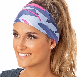 Hipsy Unisex Adjustable Spandex Xflex Printed Camo Blue Headband