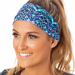 Hipsy Unisex Adjustable Spandex Xflex Printed Mosaic Blue Headband
