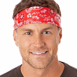 Hipsy Unisex Adjustable Spandex Xflex Printed Red Bandana Headband