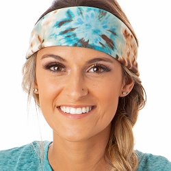 Hipsy Unisex Adjustable Spandex Xflex Printed Tie Dye Tan/Blue Headband