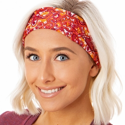 Hipsy Unisex Adjustable Spandex Xflex Printed Paisley Red Headband