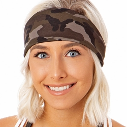 Hipsy Unisex Adjustable Spandex Xflex Printed Camo Dark Grey Headband