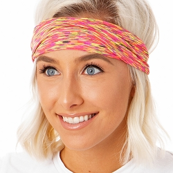 Hipsy Unisex Adjustable Spandex Xflex Space Dye Neon Multi Headband