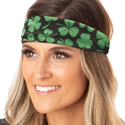 Hipsy Unisex Adjustable Spandex Xflex Soft St Patrick's Day Shamrocks Green & Black Headband