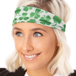 Hipsy Unisex Adjustable Spandex Xflex Soft St Patrick's Day Shamrocks Green & White Headband