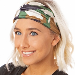 Hipsy Unisex Adjustable Spandex Xflex Velvet Camo Green Headband
