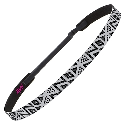 Hipsy Adjustable NO SLIP Tribal Grey Skinny Non-Slip Headband