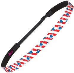 Hipsy Adjustable NO SLIP American Flag Blue Stars on Red Stripes Skinny Headband