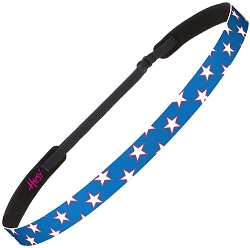 Hipsy Adjustable NO SLIP American Flag White & Red Stars on Blue Skinny Headband