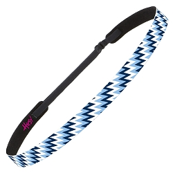 Hipsy Adjustable NO SLIP Zigzag Light Blue Skinny Non-Slip Headband