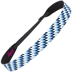 Hipsy Adjustable NO SLIP Zigzag Light Blue Wide Non-Slip Headband