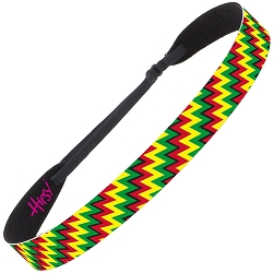 Hipsy Adjustable NO SLIP Zigzag Rasta Wide Non-Slip Headband