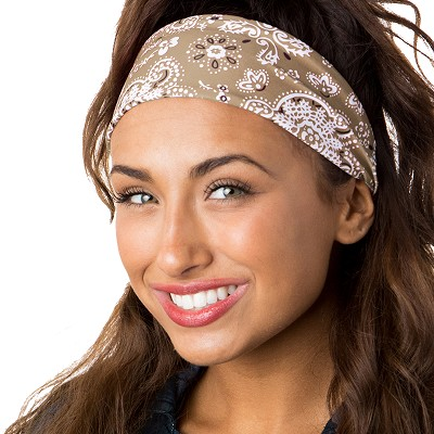 Hipsy Unisex Adjustable Spandex Xflex Printed Tan Bandana Headband