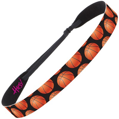 Hipsy Adjustable NO SLIP Basketballs on Black Wide Non-Slip Headband