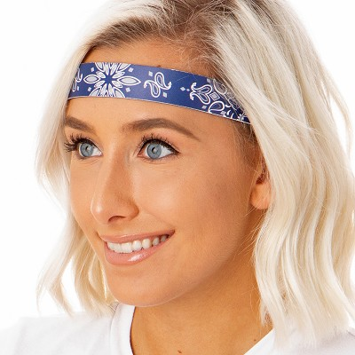 Hipsy Adjustable NO SLIP Biker Bandana Navy Wide Headband