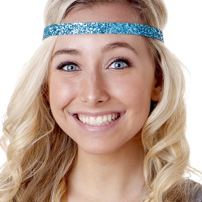 Hipsy Adjustable NO SLIP Bling Glitter Teal Skinny Non-Slip Headband