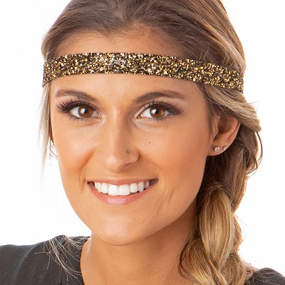 Hipsy Adjustable NO SLIP Bling Glitter Diva Skinny Non-Slip Headband