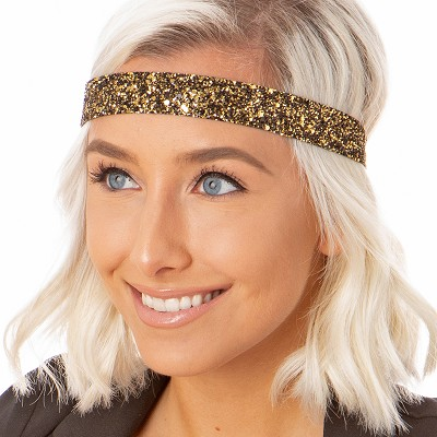 Hipsy Adjustable NO SLIP Bling Glitter Diva Wide Non-Slip Headband