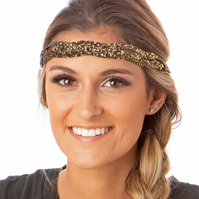 Hipsy Adjustable NO SLIP Bling Glitter Diva Braided Headband