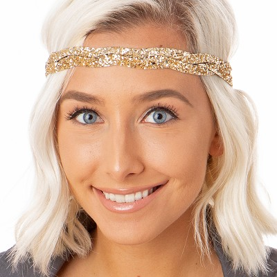 Hipsy Adjustable NO SLIP Bling Glitter Gold Braided Non-Slip Headband