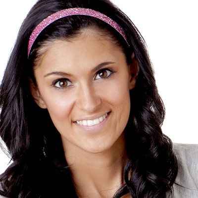 Hipsy Adjustable NO SLIP Bling Glitter Light Pink Skinny Non-Slip Headband