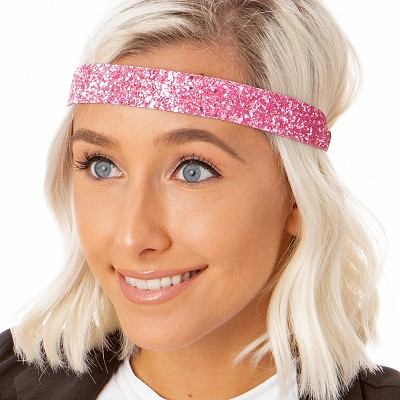 Hipsy Adjustable NO SLIP Bling Glitter Light Pink Wide Non-Slip Headband