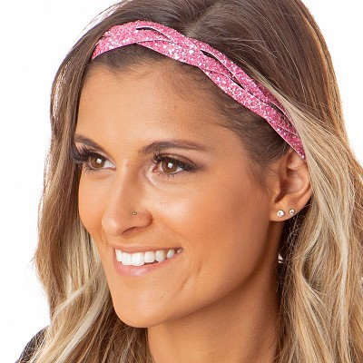 Hipsy Adjustable NO SLIP Bling Glitter Light Pink Braided Non-Slip Headband