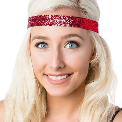 Hipsy Adjustable NO SLIP Bling Glitter Red Wide Non-Slip Headband