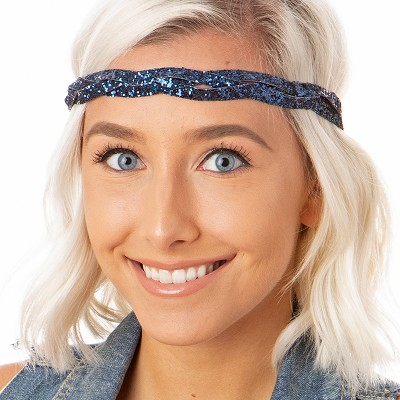 Hipsy Adjustable NO SLIP Bling Glitter Navy Blue Braided Non-Slip Headband