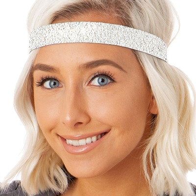 Hipsy Adjustable NO SLIP Sparkly Glitter Pearl Wide Non-Slip Headband