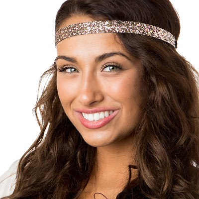 Hipsy Adjustable NO SLIP Bling Glitter Rose Gold Skinny Non-Slip Headband