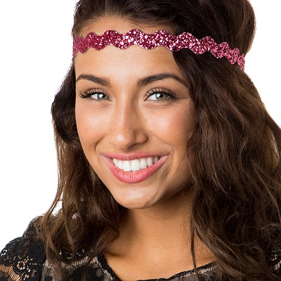 Hipsy Adjustable NO SLIP Bling Glitter Pink Rose Wave Non-Slip Headband
