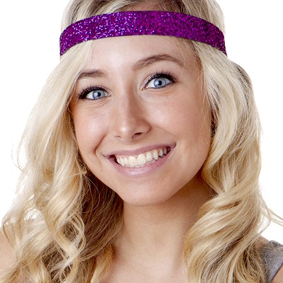 Hipsy Adjustable NO SLIP Bling Glitter Fuchsia Wide Non-Slip Headband
