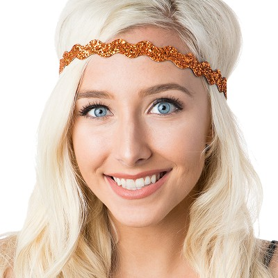 Hipsy Adjustable NO SLIP Bling Glitter Orange Wave Non-Slip Headband