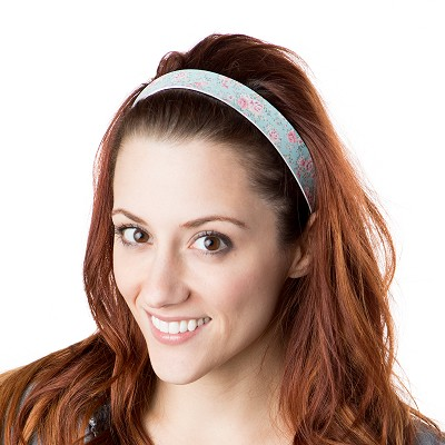 Hipsy Adjustable NO SLIP Country Floral Pink & Mint Wide Non-Slip Headband