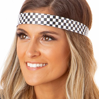 Hipsy Adjustable NO SLIP Checkerboard Black & White Wide Non-Slip Headband