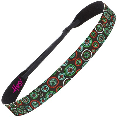 Hipsy Adjustable NO SLIP Dotted Circles Dark Brown Wide Non-Slip Headband