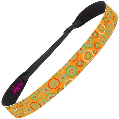 Hipsy Adjustable NO SLIP Dotted Circles Orange Wide Non-Slip Headband