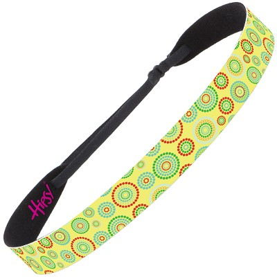 Hipsy Adjustable NO SLIP Dotted Circles Yellow Wide Non-Slip Headband