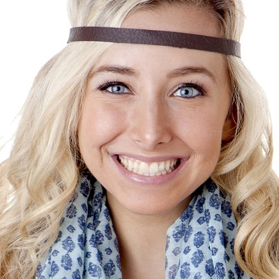 Hipsy Adjustable NO SLIP Faux Leather Brown Skinny Non-Slip Headband