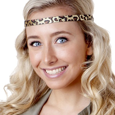 Hipsy Adjustable NO SLIP Leopard Glitter Gold Skinny Non-Slip Headband