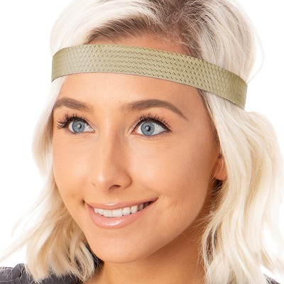 Hipsy Adjustable NO SLIP Geo Sport Gold Wide Non-Slip Headband