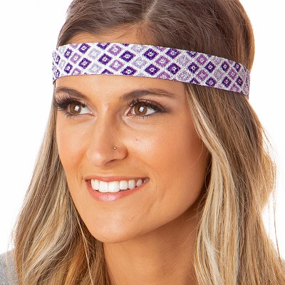 Hipsy Adjustable NO SLIP Sparkly Diamonds Purple Wide Non-Slip Headband